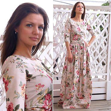 Одежда ручной работы. Ярмарка Мастеров - ручная работа Платье длинное Винтажные розы. Handmade.