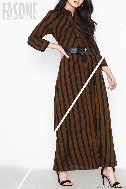 Коричневое платье-рубашка в полоску, Платья, Прага, Фото №1