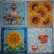 """Для дома и интерьера ручной работы. Ярмарка Мастеров - ручная работа """"Самовар и цветы"""" Разделочная доска панно. Handmade."""
