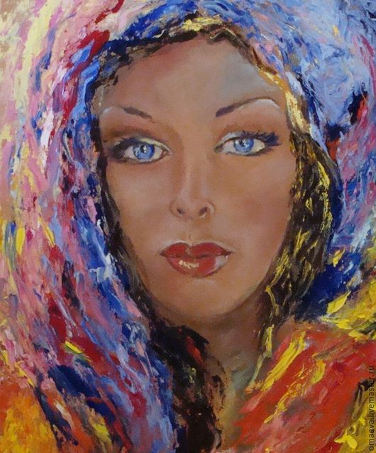 Люди, ручной работы. Ярмарка Мастеров - ручная работа. Купить Картина Голубоглазая девушка,масло,холст. Handmade. Комбинированный