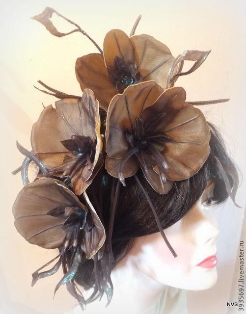 Броши ручной работы. Ярмарка Мастеров - ручная работа. Купить орхидеи. Handmade. Стильное украшение, коричневый, свадебные украшения