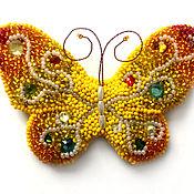 Украшения ручной работы. Ярмарка Мастеров - ручная работа Сказочная бабочка брошь из бисера. Handmade.