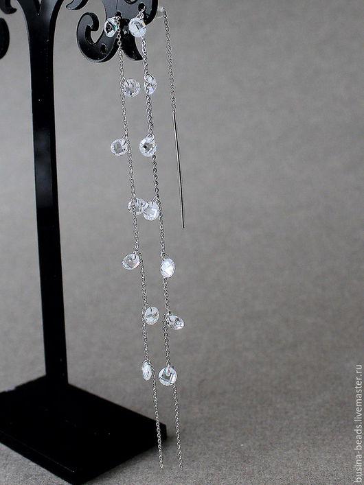 Серьги цепочки протяжки с цирконами Водопад Капельки искристой росы застыли напаутине под лучами восходящего солнца. Вот какую картину напоминают мне эти серьги цепочки.