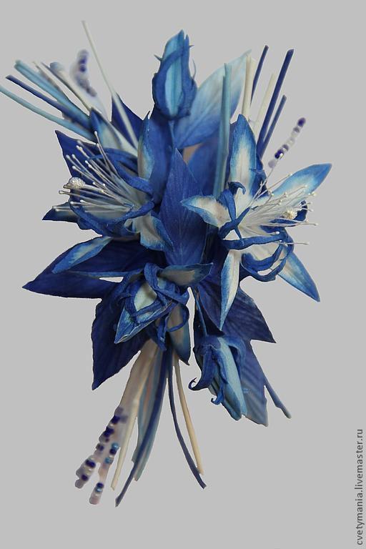 """Цветы ручной работы. Ярмарка Мастеров - ручная работа. Купить """"А ЛЯ ГЖЕЛЬ"""". Handmade. Бутоньерка, брошь-цветок"""