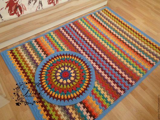 """Текстиль, ковры ручной работы. Ярмарка Мастеров - ручная работа. Купить Вязаный комплект """"Веселье"""". Handmade. Комбинированный, вязаный, объем"""