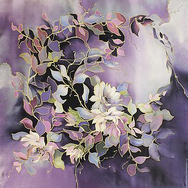 Аксессуары ручной работы. Ярмарка Мастеров - ручная работа Шелковый платок Фиолетовый сон (жаккард). Handmade.