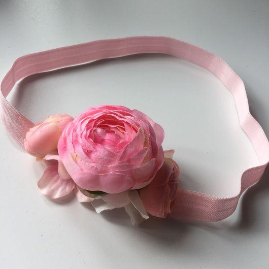 Диадемы, обручи ручной работы. Ярмарка Мастеров - ручная работа. Купить Повязка с цветами на эластичной мягкой резинке. Handmade.
