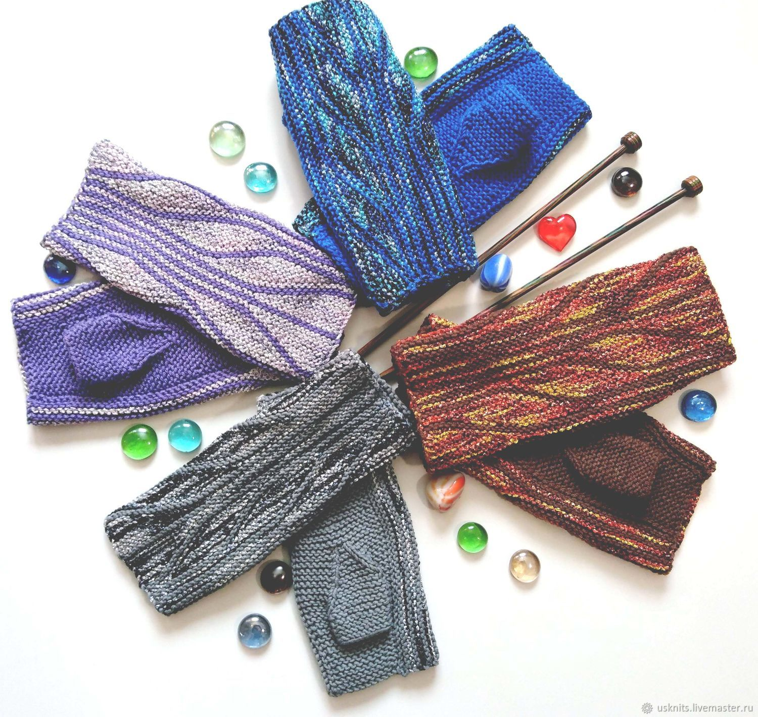 Short fingerless gloves knitted of cotton in the technique of the swing, Mitts, Korolev,  Фото №1