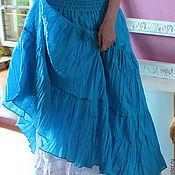 Одежда ручной работы. Ярмарка Мастеров - ручная работа Юбка летняя длинная Бирюза. Handmade.