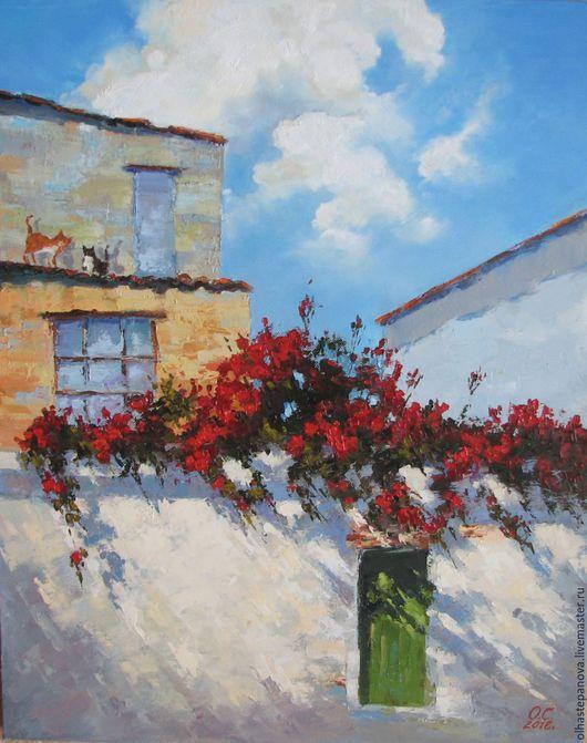 """Пейзаж ручной работы. Ярмарка Мастеров - ручная работа. Купить Картина """"Красные розы"""", холст масло.. Handmade. Ярко-красный"""