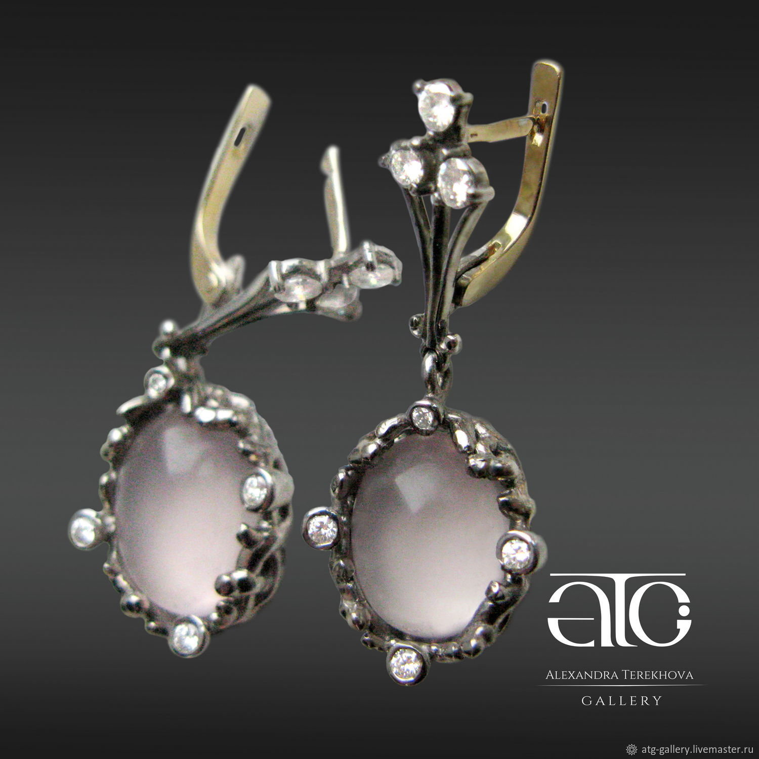 Made to order. Big. very beautiful earrings with cabochon pink quartz and diamonds.