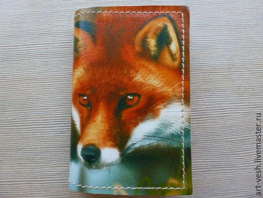 Визитница кожаная на 18 карт Лиса. Подарок на 8 марта.