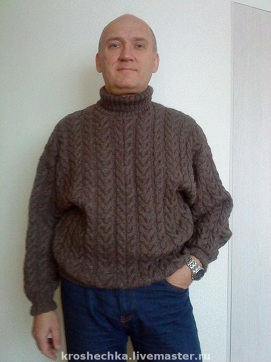 """Для мужчин, ручной работы. Ярмарка Мастеров - ручная работа. Купить Вязаный шерстяной свитер мужской """"Косы"""". Handmade."""
