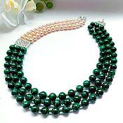 Украшения handmade. Livemaster - original item Necklace made of malachite and peach pearls and spinel. Handmade.