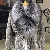 handmade. Livemaster - original item Python skin jacket insulated with silver Fox fur. Handmade.
