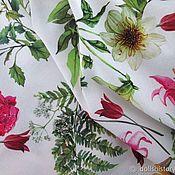 Ткани ручной работы. Ярмарка Мастеров - ручная работа Французский плотный хлопок садовые цветы. Handmade.