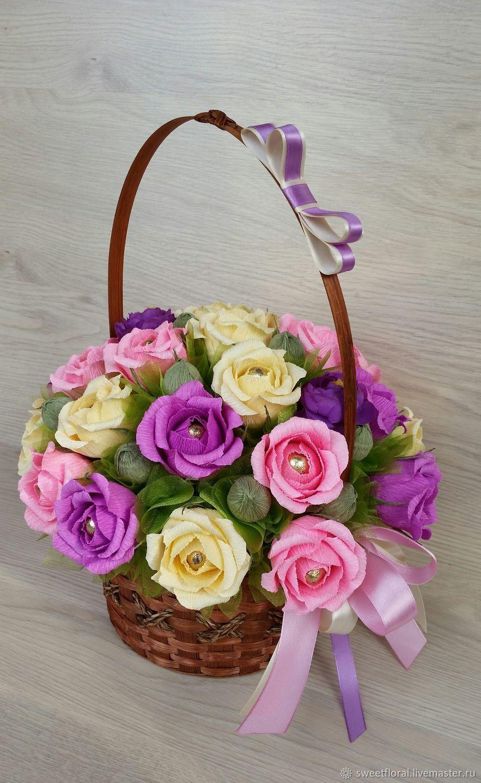 Букет, цветы и корзины из гофробумаги