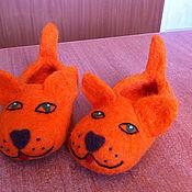 """Обувь ручной работы. Ярмарка Мастеров - ручная работа тапочки детские валяные """"Кисули-рыжули"""". Handmade."""