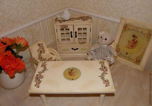 """Детская ручной работы. Ярмарка Мастеров - ручная работа. Купить Комплект кукольной мебели """"Доченька"""". Handmade. Бежевый, детская комната"""
