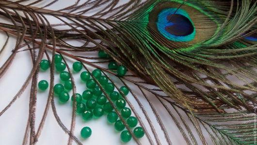 хризопраз, 6 мм, цвет яркий,  изумрудно-зелёный
