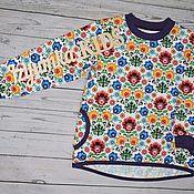 Работы для детей, ручной работы. Ярмарка Мастеров - ручная работа Лонгслив с ярким цветочным орнаментом. Handmade.