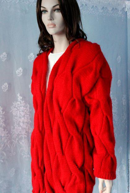 Кофты и свитера ручной работы. Заказать Вязаный кардиган Лало шарпей красный. Шали вязаные, свитера  FDesign. Ярмарка Мастеров.