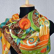 """Аксессуары ручной работы. Ярмарка Мастеров - ручная работа Шелковый платок """"Апельсиновое дерево"""". Handmade."""