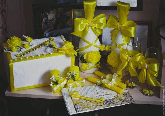 Свадебные аксессуары ручной работы. Ярмарка Мастеров - ручная работа. Купить Свадебные аксессуары. Handmade. Желтый, бутылки свадебные
