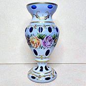 Винтаж handmade. Livemaster - original item Vase Bohemia double-layer glass 50-60 gg painted cobalt. Handmade.