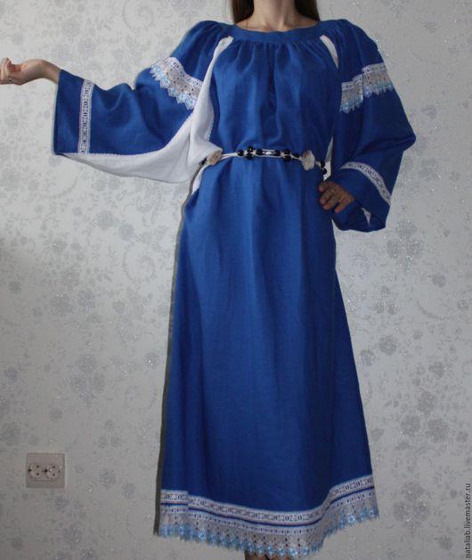 """Платья ручной работы. Ярмарка Мастеров - ручная работа. Купить Льняное платье """"Beautiful line"""". Handmade. Синий, льняная одежда"""