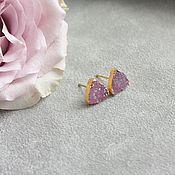 Украшения ручной работы. Ярмарка Мастеров - ручная работа Серьги треугольные с друзой агата, позолота. Handmade.