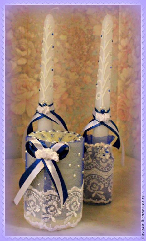 """Свадебные аксессуары ручной работы. Ярмарка Мастеров - ручная работа. Купить Свечи свадебные """"Ирена"""". Handmade. Тёмно-синий"""