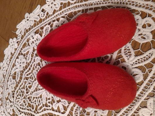 Обувь ручной работы. Ярмарка Мастеров - ручная работа. Купить Красные балетки. Handmade. Ярко-красный, балетки валяные