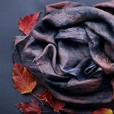"""Аксессуары ручной работы. Ярмарка Мастеров - ручная работа Шелковый платок """"Ночное небо"""" экопринт. Handmade."""