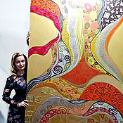 Картины и панно handmade. Livemaster - original item Large interior bright picture abstraction based on Gustav Klimt. Handmade.