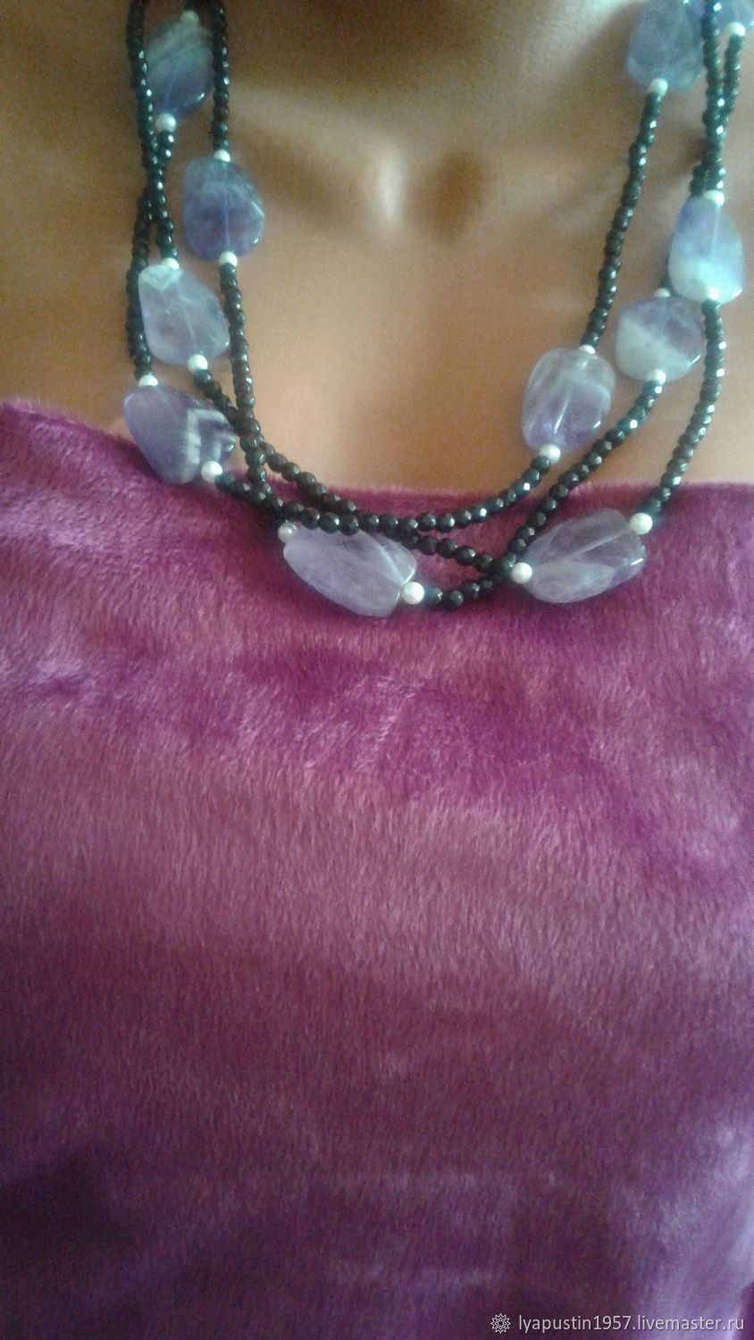 natural amethyst and black agate, Necklace, Moscow,  Фото №1