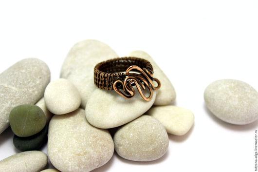 Кольцо медное По волнам