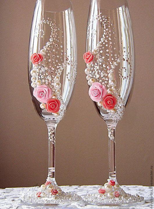 """Свадебные аксессуары ручной работы. Ярмарка Мастеров - ручная работа. Купить Свадебные бокалы """"Розы"""". Handmade. Бледно-розовый, полужемчуг"""