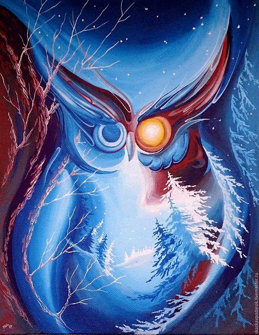 """Абстракция ручной работы. Ярмарка Мастеров - ручная работа. Купить картина """"Тайна спящего леса"""". Handmade. Картина, сова, для интерьера"""