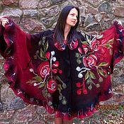 """Одежда ручной работы. Ярмарка Мастеров - ручная работа Пончо """" Винная роза"""". Handmade."""
