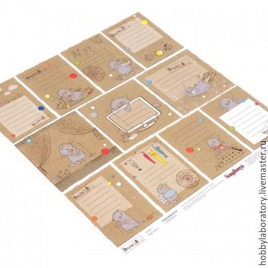"""Открытки и скрапбукинг ручной работы. Ярмарка Мастеров - ручная работа. Купить Бумага для скрапбукинга """"Карточки 1"""" из коллекции """"Басик"""". Handmade."""