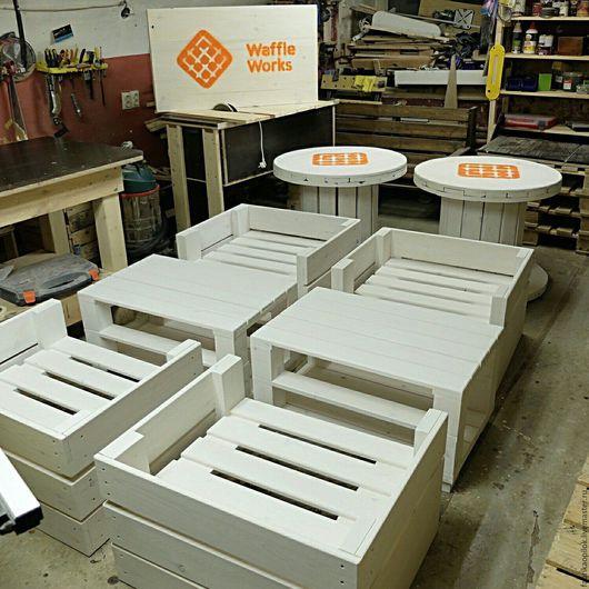 Мебель ручной работы. Ярмарка Мастеров - ручная работа. Купить Набор мебели для кафе. Handmade. Белый, дуб, морилка