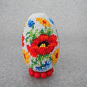 Яйца ручной работы. Ярмарка Мастеров - ручная работа Яйцо пасхальное из бисера Полевые цветы. Handmade.