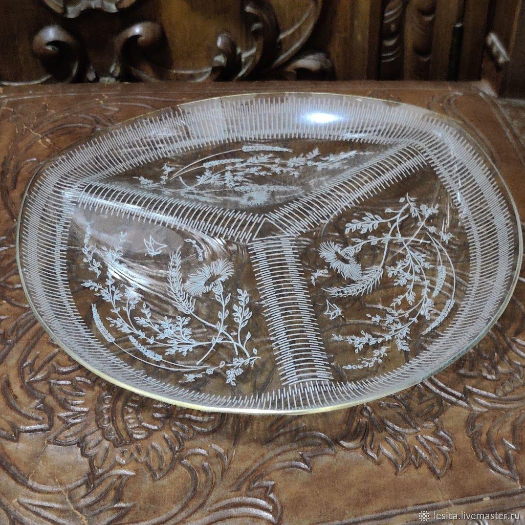 Menagerie dish glass France, 50-60, Vintage plates, Ramenskoye,  Фото №1