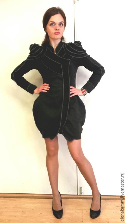 """Платья ручной работы. Ярмарка Мастеров - ручная работа. Купить Платье с """"плечами"""". Handmade. Темно-серый, стильное платье"""