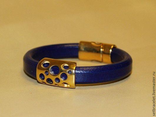 Браслеты ручной работы. Ярмарка Мастеров - ручная работа. Купить Кожаный фиолетово - синий браслет. объемный шнур. Handmade.