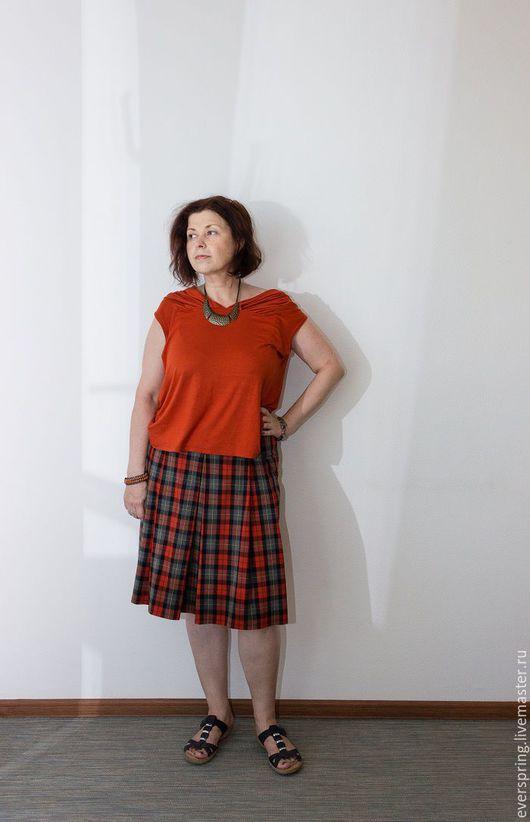 Юбка в клетку, юбка из шерсти, серая и оранжевая клетка, юбка в складку, юбка на осень, юбка до колена, юбка миди, клетчатая юбка, юбка большой размер, юбка на заказ.