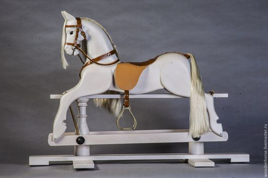 Игрушки животные, ручной работы. Ярмарка Мастеров - ручная работа. Купить Лошадка качалка деревянная белая (светло-серой масти). Handmade.