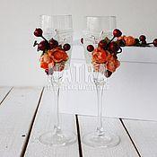 Свадебный салон ручной работы. Ярмарка Мастеров - ручная работа Свадебные бокалы осенние. Handmade.