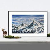 Картины и панно handmade. Livemaster - original item Watercolor Mountain peaks. Handmade.